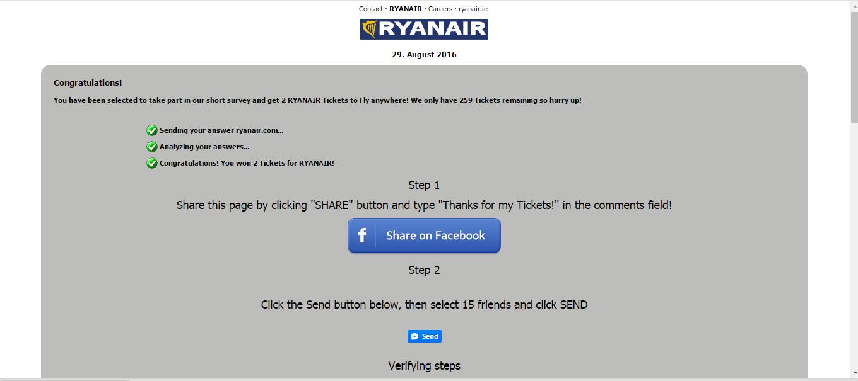 Oferta falsa Ryanair